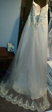 Like Mori Lee A-Line Ivory Tulle Beaded Wedding Dress Plus Size 18, cap sleeves