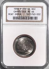 1999-P 25c Reverse Die Cap Major Mint ERROR Connecticut NGC MS-66