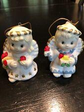 Two Vintage Ceramic Angel Christmas Tree Ornaments China 2 1/2� H x 2� W
