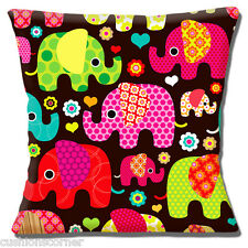 "NOVELTY PATTERNED ELEPHANTS BRIGHT MULTI COLOURS BROWN 16"" Pillow Cushion Cover"