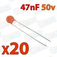 Mini condensador ceramico de 47nF 50v ±20/80% - Lote 20 unidades - Arduino Elect