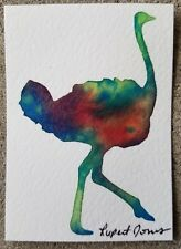 Ostrich Original Aceo Painting by Rupert Jones, Signed Abstract Watercolor