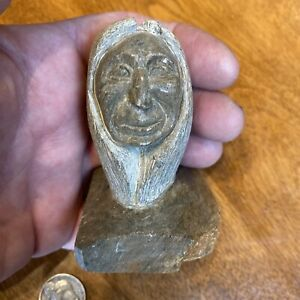 Vntg Ben Henry Six Nations Ont. Canada 1989 Carved Soapstone Man Signed Dated