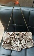 SABINA New York Genuine Leather Snake Pattern Exquisite Clutch Handbag Purse vtg