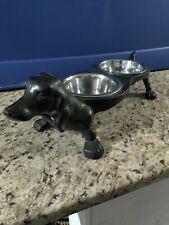 New ListingCast Iron Dachshund Dog Food & Water Bowl Holder - Vintage Wiener Dish Feeder