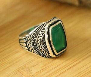 Natural Green Agate Men's Rings,925 Sterling Silver Handmade Rings SIZE 8.75