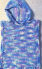 Hand Crocheted Blue White & Lavender Hoodie Poncho.