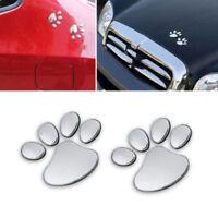 2Stk Silber Hund Pfote 3D Aufkleber Aufkleber: Perfekt für Autos
