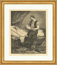 Der Neugeborene Andre Gill Familie Mutter Vater Säugling Bett Holzstich E 4064