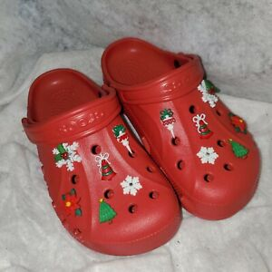 Crocs Classic Baya Red W7 M5 With Christmas Charms Snowflake Tree