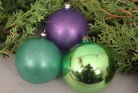 Christbaumschmuck Weihnachtskugeln Set 3 Stück Glas lila grün Weihnachten Deko
