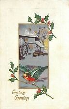 Christmas~Colorful Bird Flight~Lands on Holly Berry~Old Mill~Silver Gold Emboss