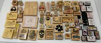 Large Lot of 75+ Wood Rubber Stamps New & Used Hero Arts Gallery Winnie Pooh
