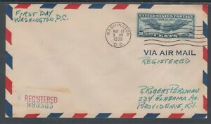 US Sc C24 on 1939 Registered Air Mail Cover, Washington, DC second day