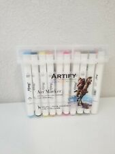 40 Artify Art Alcohol Based Color Markers Dual Tipped Twin Pens w Carrying Case