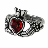 Claddagh by Night Ring Skeleton Hands Red Heart Crystal Alchemy of England Goth