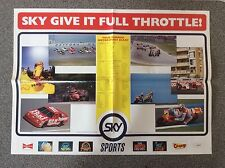 Collectable Sky Sports 1992 Motorsport Schedule Poster Formula 1, Indycar, Nasca