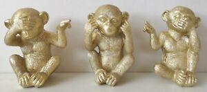 3er Set Deko Figur Affe Schimpanse Nichts hören sehen sprechen gold Dekoobjekt 6