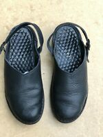 Josef Seibel Black Leather Mules Pebble Grain Leather Air Massage Sz 6.5 M 37