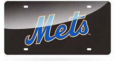 New York Mets BLACK Deluxe Laser Cut Acrylic Inlaid License Plate Tag Baseball