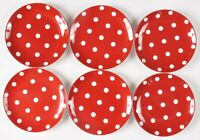 Pottery Barn Chloe Red White Dots Salad Dessert Plate Holidays Set of 6