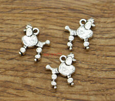30 Dog Charm Poodle Charm Pet Lover Animal Charm Antique Silver Tone 14x15 2053