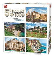 5 x 1000 Piece Jigsaw Puzzles Classic Holiday European Collection Box Set 85531