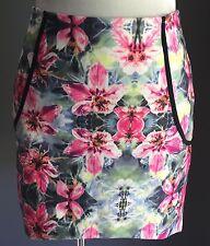 NWT Floral Print MIKA & GALA Scuba High Low Skirt Size 12 RRP$45