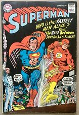 Superman #199 (Aug 1967, DC) 1st Flash vs. Superman, Key, great copy, free S&H