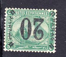 EGYPT: 1884 De La Rue Issue 5pi green with inverted overprint 20pa (Error)