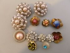 13 Vintage Buttons Faux Pearl Rhinestones Shamrock and Metal Steampunk & Sewing