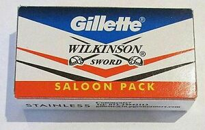 10 X GILLETTE WILKINSON SWORD STAINLESS STEEL DOUBLE EDGE SAFETY RAZOR BLADES