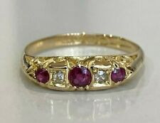 Vintage 18k solid gold w/ Ruby & Diamond ring 2.30g size P -  7 1/2