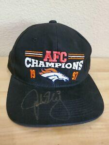 JOHN ELWAY SIGNED AUTOGRAPHED 1997 AFC CHAMPIONS HAT VINTAGE HEADMASTER INC HAT