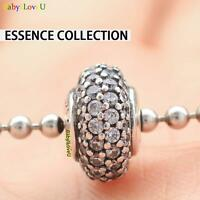 925 Sterling Silver Essence Collection Balance Charm Spacer Bead CZ Fit Bracelet