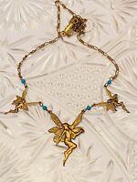 Banana Bob Fairy Necklace Collar Turquoise Bronze Repousse Rare Art Nouveau