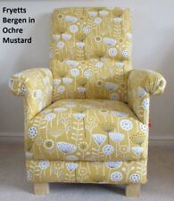 Fryetts Bergen Fabric Adult Chair Ochre Mustard Armchair Floral Accent Kitchen