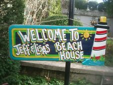TROPICAL WELCOME POOL PATIO LIGHT HOUSE BEACH SIGN