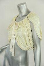 SALON BY MALENE BIRGER Cream SEQUINED Shrug SILK Crop Evening-Glamour Jacket S/M
