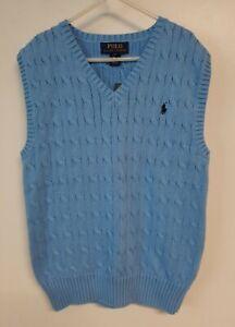 New Polo Ralph Lauren Light Blue Cable Knit Sweater Vest Boys Size M 10-12