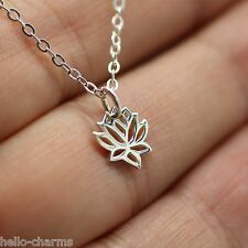 TINY LOTUS FLOWER NECKLACE - 925 Sterling Silver Namaste Charm Yoga Flower Ohm