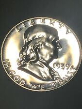 1959 Franklin Half Dollar Proof 90% Silver- Beautiful Luster Nice - Well Kept