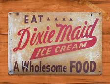 "TIN SIGN ""Dixie Maid Ice Cream"" Sweet Retro Food Dessert Kitchen Wall Decor"