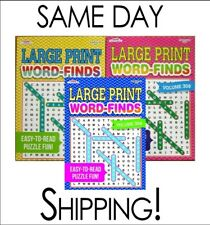 Lot of 3 Large Print Word Search Find Hunt Puzzle Books