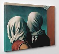 Quadro Magritte Gli Amanti Stampa su Tela vernice Pennellate Poster Pannello Mdf