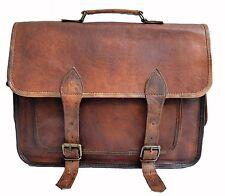 """Vintage Briefcase Satchel Soft Leather 16"""" Laptop Messenger Bag Shoulder Men New"""