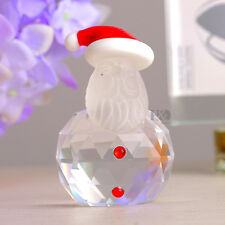 Clear Crystal Santa Claus Figurine Ornament Christmas Decor Collection Gift 40mm