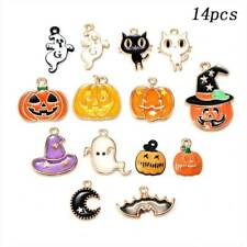 14pcs Enamel Alloy Mixed Halloween Series Bat Ghost Pendant Charms DIY Findings