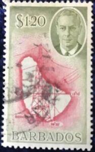 Barbados George VI $1.20 Green & Red Definitive Fine Used SG 281.