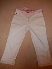 Girls George at Asda White Crop Jeans with Pink Stitching & Belt Age 11-12 BNWT